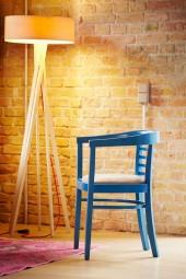 CHARLES Armlehnstuhl blau (Afrika Leder schlamm)
