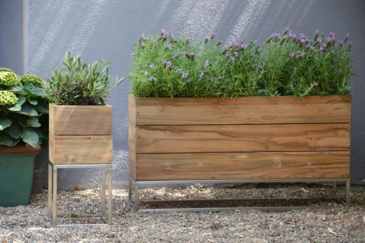 jan kurtz jankurtz jan kurtz mini garden pflanzgef e aus recyceltem teakholz und edelstahl. Black Bedroom Furniture Sets. Home Design Ideas