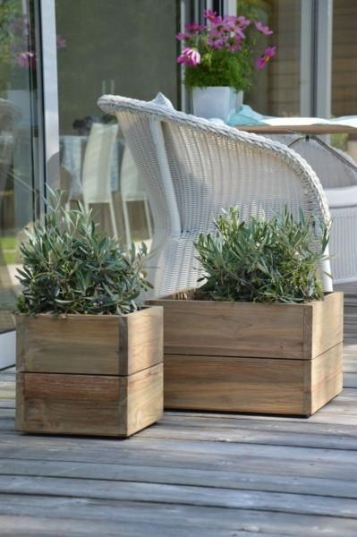 Mini Garden Container recyceltes Teak 25x25x25 cm
