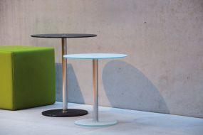 PERFECT Beistelltisch Gestell 48 cm Inox/Platte 45 cm schwarz