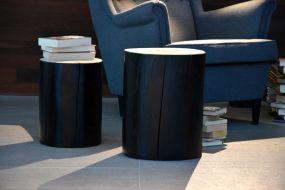 BLOCK Hocker rund Kernesche schwarz lackiert H 46 cm