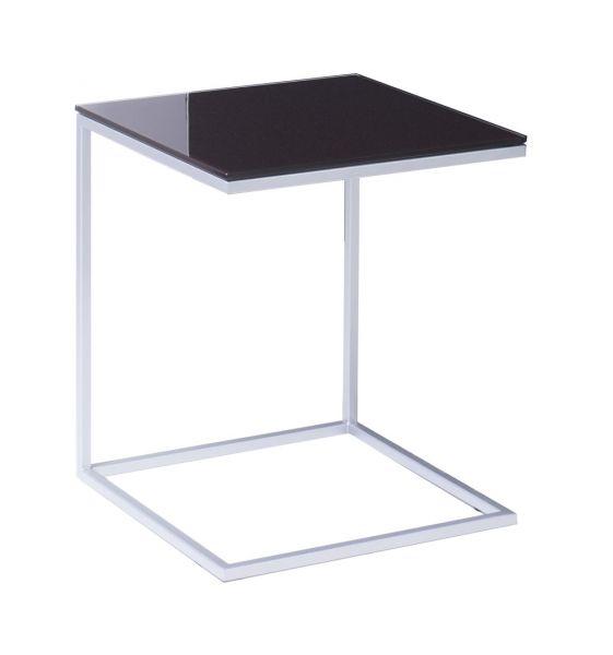 CLASSICO Beistelltisch mit mocca Glasplatte 52x40x40 cm