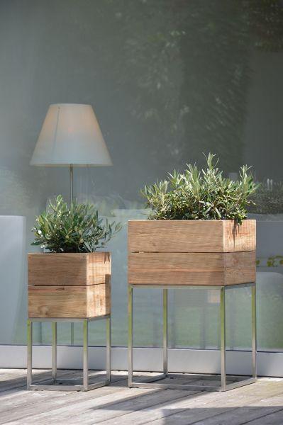 Mini Garden Pflanzbehälter Teak/ Edelstahl 65x40x40 cm
