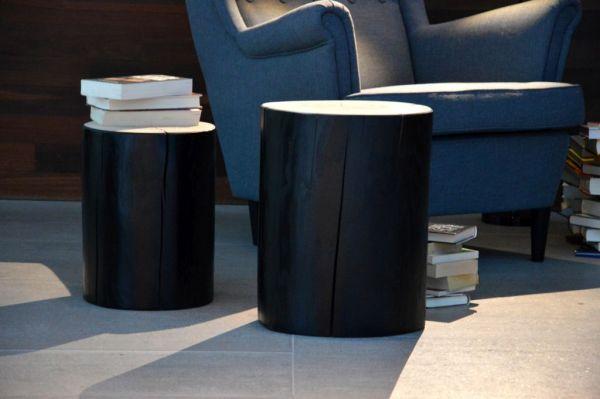 BLOCK Hocker rund Kernesche schwarz lackiert H 38 cm