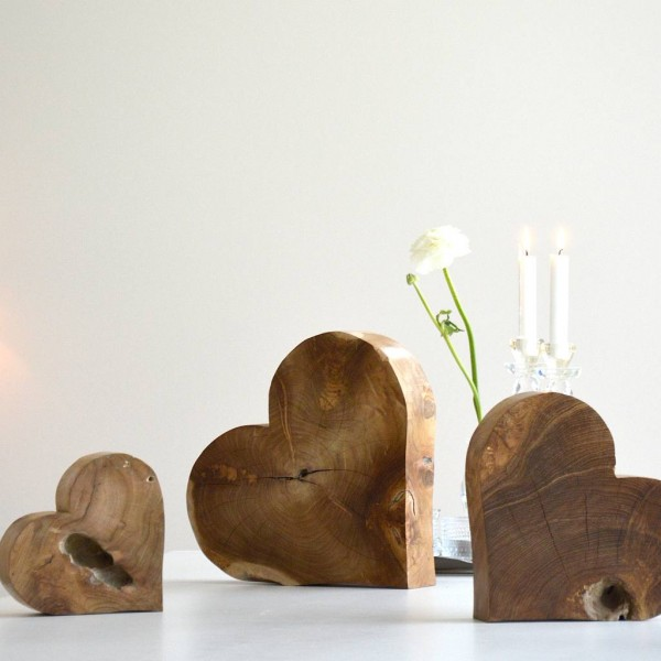 HEART in 3 Größen aus recyceltem Teakholz