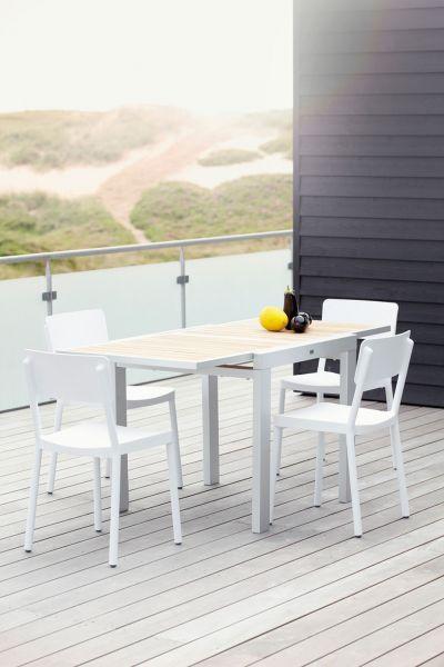 GIGA Tischgestell weiss/ Einlegeplatten Teak 120/240