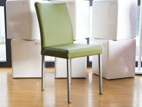 NICK Stuhl Inox/Leder bovine kiwigrün