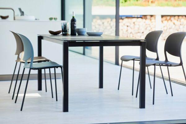 LUX EXCELL Tisch schwarz / hpl Eichedekor wenge