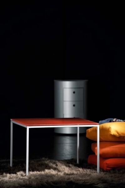 CLASSICO Couchtisch 60x60 cm lunasilber-rot