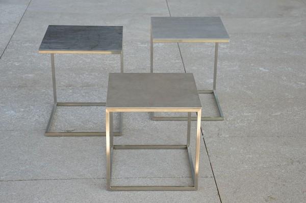 PIZZO/PINO Beistelltisch Edelstahl/Keramik