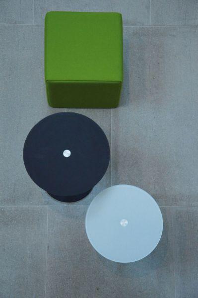 PERFECT Beistelltisch Gestell Inox 60 cm/Platte 50 cm Glas schwarz