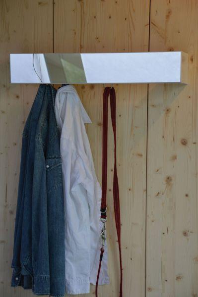 SLIM Garderobe mit Spiegel silber