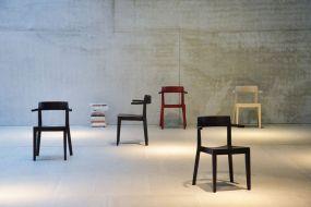 HAWELKA Stuhl mit Armlehne creme/weiss