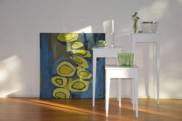 BONNY Beistelltisch Pappelholz weiss 100x40x40 cm