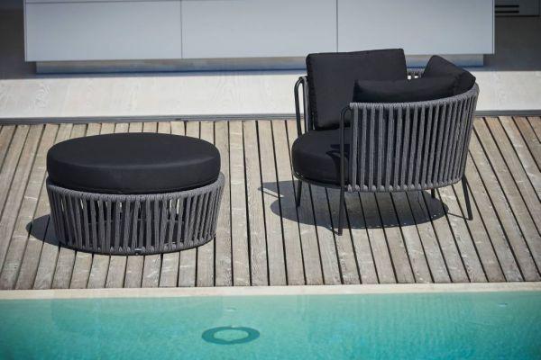 SUNDERLAND ROPE XL Loungehocker/Beistelltisch schwarz/anthrazit