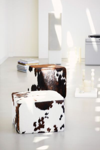 CHEYENNE Pouf Kuhfell 35x50x50 cm