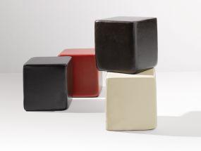 SITTING Sitzwürfel schwarz Leder antik